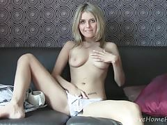 Exotic blonde hottie displays her beautiful pussy