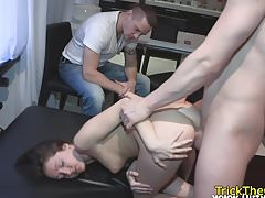 Tricked gf restrained for a revenge sexgame