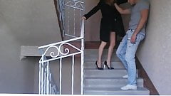 Sexy ballbusting on stairs