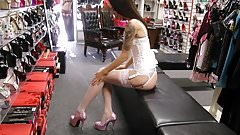 Heels White Corset  Stockings Suspenders