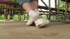 Jasmine under table Keds shoeplay dangle PREVIEW