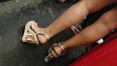 Candid wedges heels and hot legs