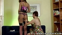 Sexy euro babe gets lingerie on