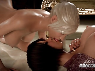 Horny blonde and her big tits girlfriend enjoying futa sex
