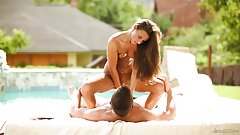 Beautiful couple poolside sex