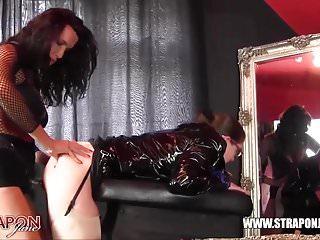 Strapon Jane fucks lesbian peach ass slut with huge strapon