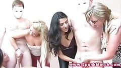 CFNM sluts team up to make studs cum from wanking