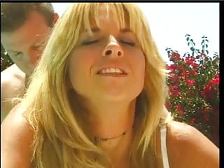 Tall and sexy blonde gets her pussy licked and fucked poolside