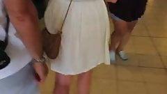 See Thru- White dress blank thong