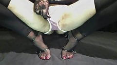 Sissy leather toes heels show red toes nails in nylons