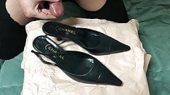 Cum in her shoes ! (Chanel black slingback heels)