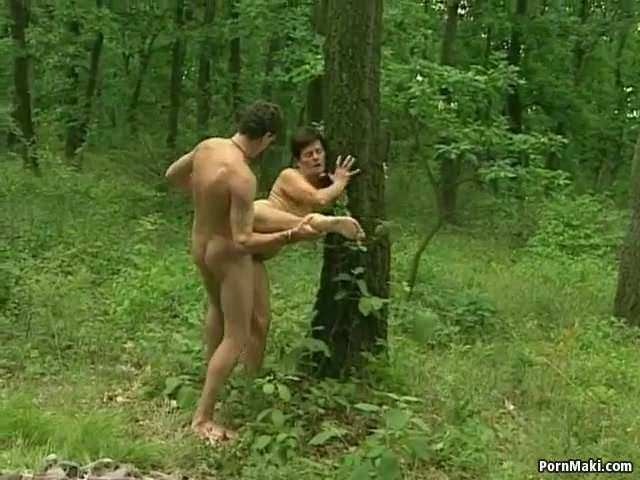 German Granny Fucks Outdoor