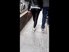 candid in black spandex legging