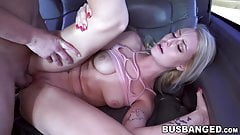 Beautiful blonde babe pussy stretched in the bang bus
