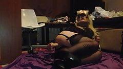 Blonde tgirl lingerie stockings bareback white sissy femboy