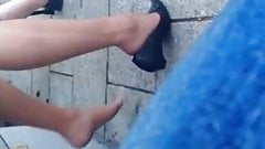 Candid Bus Stop Shoeplay Feet Nylons Pantyhose 1