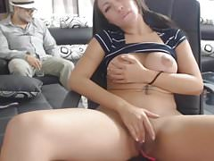 Busty Teen Plays with Shaved Pussy while Grandpas Behind