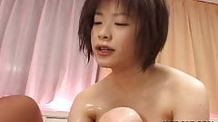 Asian  tits babe sucking  and fucking big dick
