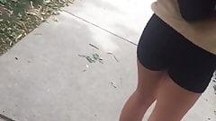asian teen black spadex shorts