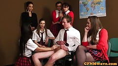 Femdom schoolbabes jerking only male student