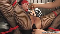 Blindfolded Kana Mimura got dildos in both of her fuckholes