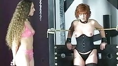 Cute young brunette girls in lingerie torture each other in the bdsm dungeon