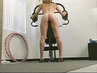 Busty blond has sexy naked workout fun