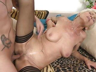 Modern granny seduce her young boy