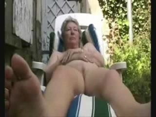 Granny having fun in court yerd. Amateur older