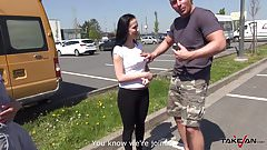 Takevan - Mea Melone help to get cute babe on parking