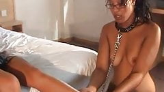 Sweaty black girl licks out shaved pussy
