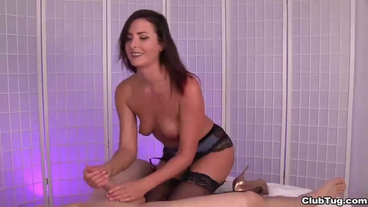 Sexy brunette milf POV handjob