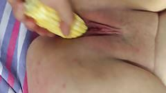 BBW slut pet-tied and buttering fingers & corn!