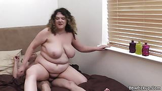 Busty chubby woman is picked up by stranger