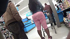 Ebony PHAT ass in Pink Spandex Lycra Leggings Candid Booty