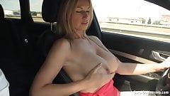 Busty Reny drives around