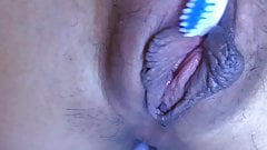 Japanese amateur close up with teeth brush 2.