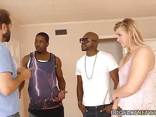 Small Titted Blonde Melissa May Having Fun With Black Dudes