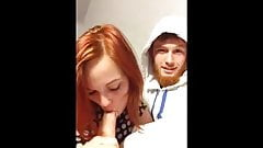 Redhead teen gives slow, sensual blowjob