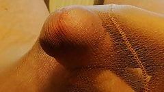 Cumshot in Tan Pantyhose