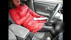 fake lady red leather