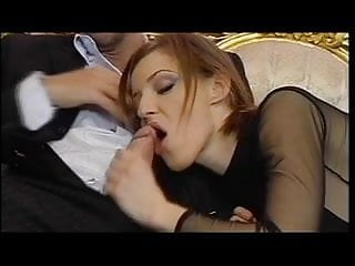 Sexy ginger sucks cock and gets double-penetrated in wild threesome