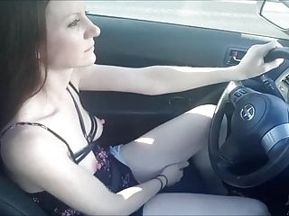 Skilled Girlfriend Masturbating While Driving