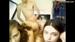 The guy pleases two Chicks under the webcam