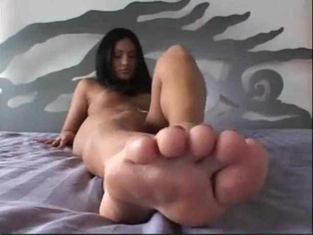 Horny Chubby BBW Teen with nice feet masturbating pussy