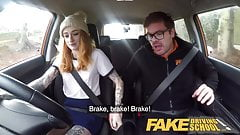 Fake Driving School Slim hot redhead minx fucks better