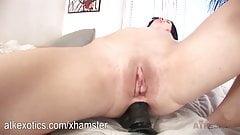 Netta fucks herself in the ass with a huge dildo