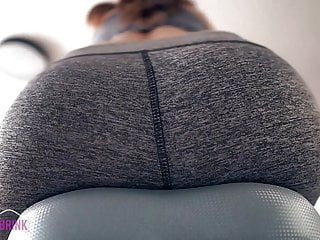Orgasm on Exercise Bike in Yoga Pants Ass View + Heart Rate