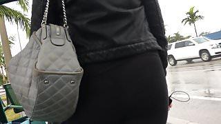 Pawg wearing transparent leggings at bus stop 2