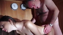 Young girl fucking with old guy in sauna's Thumb